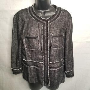 Lafayette 148 tweed pattern denim jacket linen